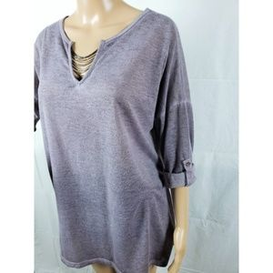 Soft Surroundings Sz M Heather Purple Shirt Chain